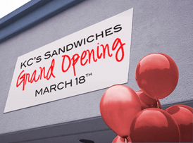 KC's Sandwiches grand opening March 18 banner